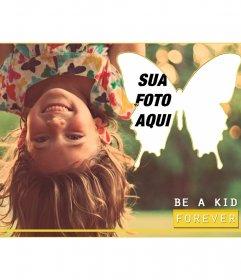Cartão com uma menina e uma bela mensagem borboleta