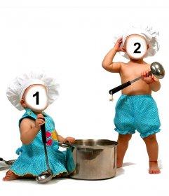Fotomontagem com dois bebês vestidos cozinhar para colocá-los face