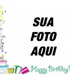 Moldura com texto de feliz aniversário com decorações, balões e presentes de aniversário