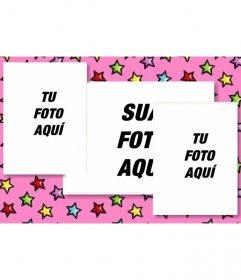 Cartão de aniversário personalizado com 3 fotografias. Fundo rosa com estrelas coloridas. Carregar as três imagens e enviar e-mail