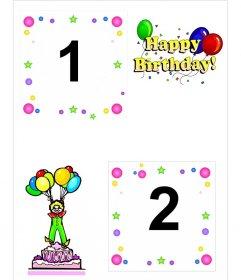 Cartao de aniversario para duas fotografias, com motivos de bolo, palhaso e baloes