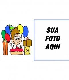 Cartão de aniversário com a foto do bebê com presentes para enviar por e-mail