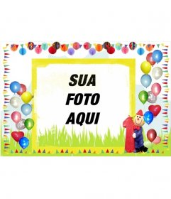 Cartão de aniversário fronteira com balões coloridos