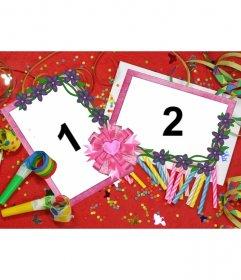 Moldura para duas fotos com motivos de festa de aniversário, fundo vermelho com velas, mate-de-lei e serpentinas e confetes