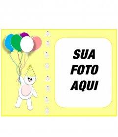 Cartão de aniversário amarela personalizada com sua foto com um ursinho de pelúcia e balões