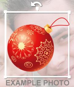 A esfera da árvore de Natal para colocar em suas fotos online