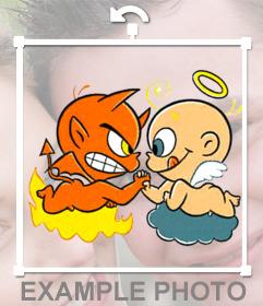 Etiqueta com um desenho de um anjo e um demônio