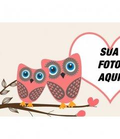 Amor Facebook cobrir foto para personalizar com duas corujas