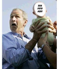 Editar essa montagem da foto do divertimento com George Bush e uma