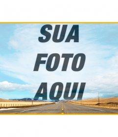 Header no Facebook para criar uma colagem no céu nesta foto com uma estrada e sobrepor uma foto que você enviar online