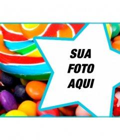 Personalize sua capa perfil no Facebook com doces e pirulitos e sua foto dentro de uma estrela