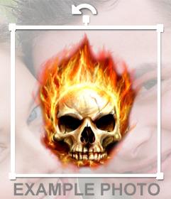 Fotomontagem de um crânio em chamas para colocar em sua foto