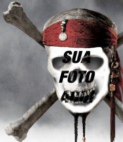 Fotomontagem de um crânio do pirata para colocar uma foto do seu rosto