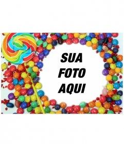 Moldura para fotos com decoração de doces e pirulitos. Enquadre a foto e salve ou envie um e-mail para ver o resultado