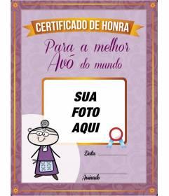 Diploma para impressão on-line personalizado para a melhor avó do mundo para colocar uma foto