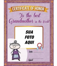 Diploma para imprimir e personalizado com uma foto de sua avó on-line gratuito
