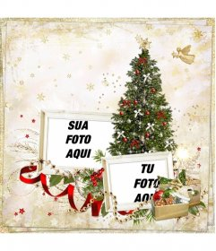 Fotomontagem de Natal para duas fotos e envie como um cartão de Natal