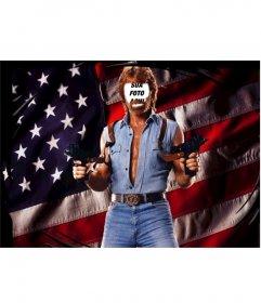 Fotomontagem de Chuck herói americano NorrisÑ para editar