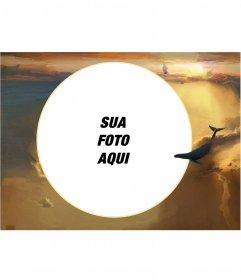 Moldura para foto com sua imagem em uma forma circular nas nuvens