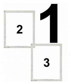Colagem para 3 fotos com dois deles ir em uma moldura de polaroid e um grande fundo. Escolha os seus três fotos