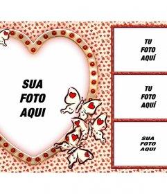Amor colagem com 4 fotos e um coração como a imagem principal