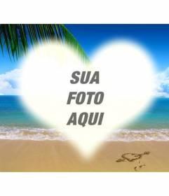 Colagem para colocar uma imagem em forma de coração em uma imagem de uma praia