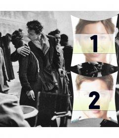 Colagem de duas fotos com uma cena de romance em Paris nos anos 50