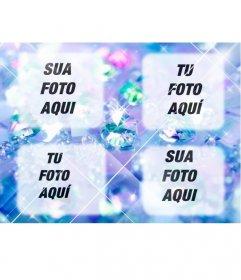 Criar uma colagem com o azul brilhante, com quatro diamantes fotos enviadas on-line e também adiciona um texto