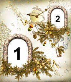 Colagem de Natal com duas fotos e um relógio em forma de bola