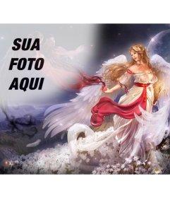 Criar um collage on-line com um anjo mulher alada em um mundo de fantasia cercada por flores