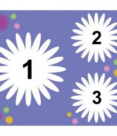 Colagem decorativa para três fotos com formas de flores e