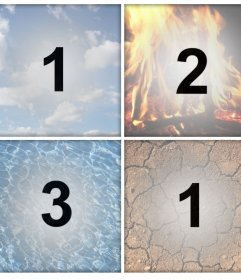 Os 4 elementos como filtros para carregar quatro fotos