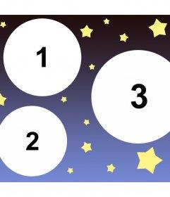 Colagem especial para carregar três fotos decoradas com estrelas