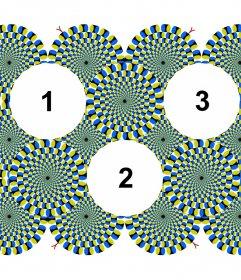 Colagem original para três fotos com uma ilusão de ótica de movimento