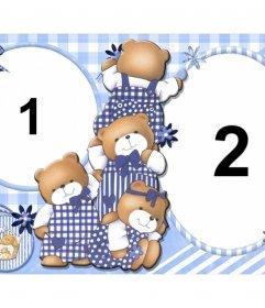 Crianças colagem para a personalização com quatro ursos e duas fotos de você