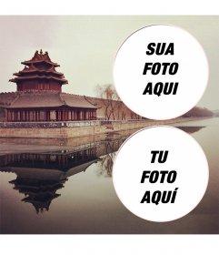 Colagem para duas fotos com uma paisagem da Cidade Proibida na China