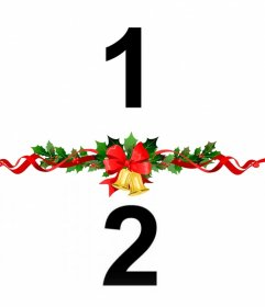 Coloque duas fotos juntamente com uma guirlanda de Natal decorativas com este efeito