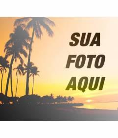 Criar uma colagem com uma paisagem de verão com uma praia e palmeiras com tons de laranja e uma foto de você online e gratuito