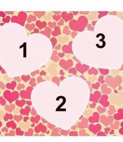 Colagem do amor com três corações para inserir três fotos