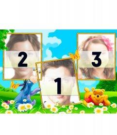 Colagem três fotos com Winnie the Pooh e seu amigo Igor em um campo