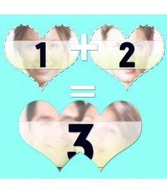 Colagem por três tiros com dois corações juntar e fundir resultado