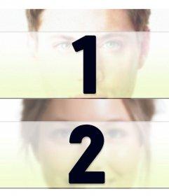 Colagem para duas fotos divididas horizontalmente