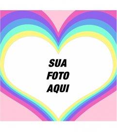 Moldura de um coração com um arco-íris