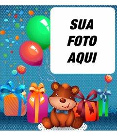 ECard aniversário das crianças com um urso