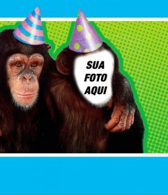 Fotomontagem com um macaco vestido com chapéu de festa
