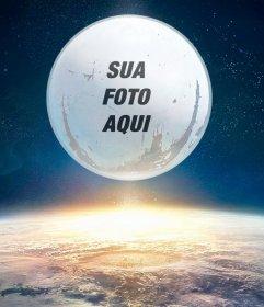 Montagem do jogo destino com sua imagem na lua