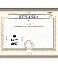 Diploma personalizável de uma conquista, orgulhosamente apresentado à pessoa que você quer em que você pode colocar uma foto e texto