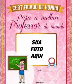 Diploma para o melhor professor do mundo para colocar uma imagem com um fundo rosa