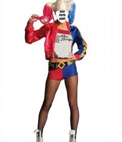 Traje em linha de carácter Harley Quinn de Esquadrão Suicida para editar
