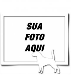 Digital Picture Frame, que consiste em uma borda cinza e uma silhueta branca de um cão com o rabo levantado, como se tivesse encontrado uma trilha